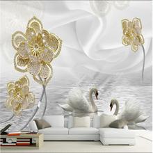 3d stereo luxury jewelry flower murals living room TV sofa bedroom background wall paper murals