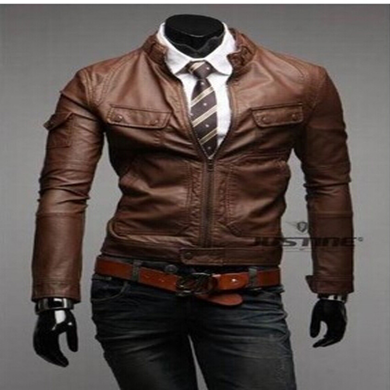 New 2014 fashion high quality full sleeve short brown black coffee plus size XXXL motorcycle faux leather jacket men(China (Mainland))