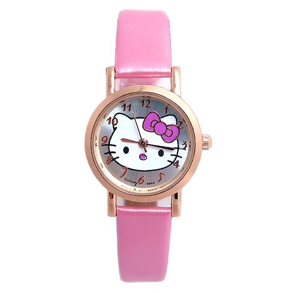 Gogoey Brand 2016 Hello Kitty Cartoon Watches Kid Girls leather Strap Wristwatch children Quartz watch GO103(China (Mainland))