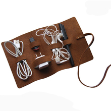 Handmade Genuine Leather Headphone Cable Cable Organizer Charge Cable Storage Cord Wire Holder Multifunctional Digital package(China (Mainland))