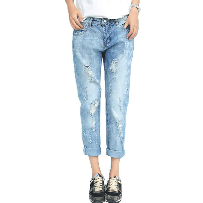 Unique  Jeans Slim Ripped Pencil Jeans Hole Pants Female Sexy Girls Trousers