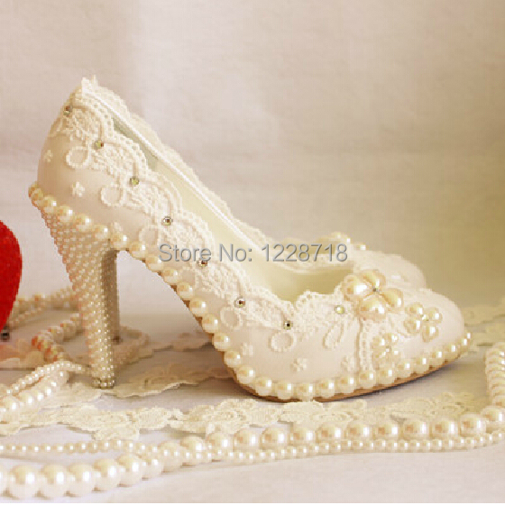 2014 new lace flower crystal tassel wedding shoes bridal Evening party Shoes sapatos femininos women pump size 11 - Levvi store