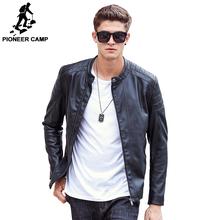 Pioneer Camp 2017 Новое поступление Мужская кожаная куртка выосокачественый матириал Мяхкая PU кожа модный модель известный бренд 611310(China (Mainland))