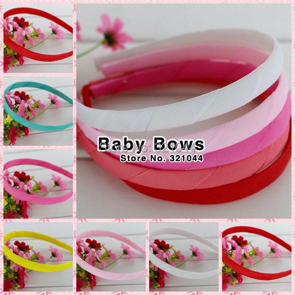 100pcs/lot 1.5cm Ribbon Covered Plastic Hairband Satin Ribbon Covered Hairbands Headbands Girls Hair Accessories Free Shipping(China (Mainland))