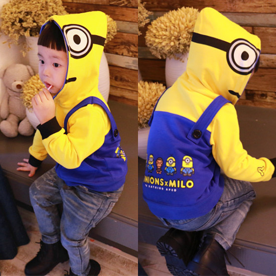 KIKIKIDS Kids Boys&Girls Cotton Minions&Beedo Milo Pattern Yellow Hoodies, Kids Clothing Toddler Boys Hoodies(China (Mainland))