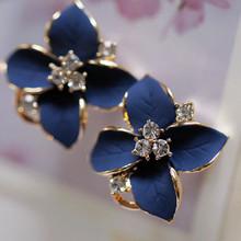 Romantique Style mode boucles d'oreilles strass bleu camélia fleurs boucles d'oreilles pour les femmes(China (Mainland))