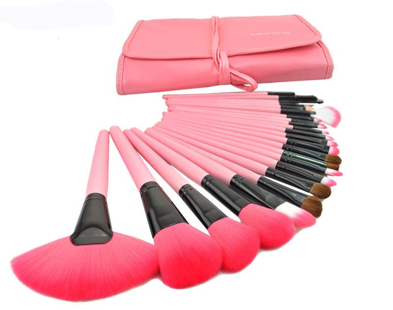 Free Shipping! Professional 24pcs Make up Brush Set,Makeup Brushes & tools, Brand MakeUp Brush Set with Leather Case - Pink(China (Mainland))