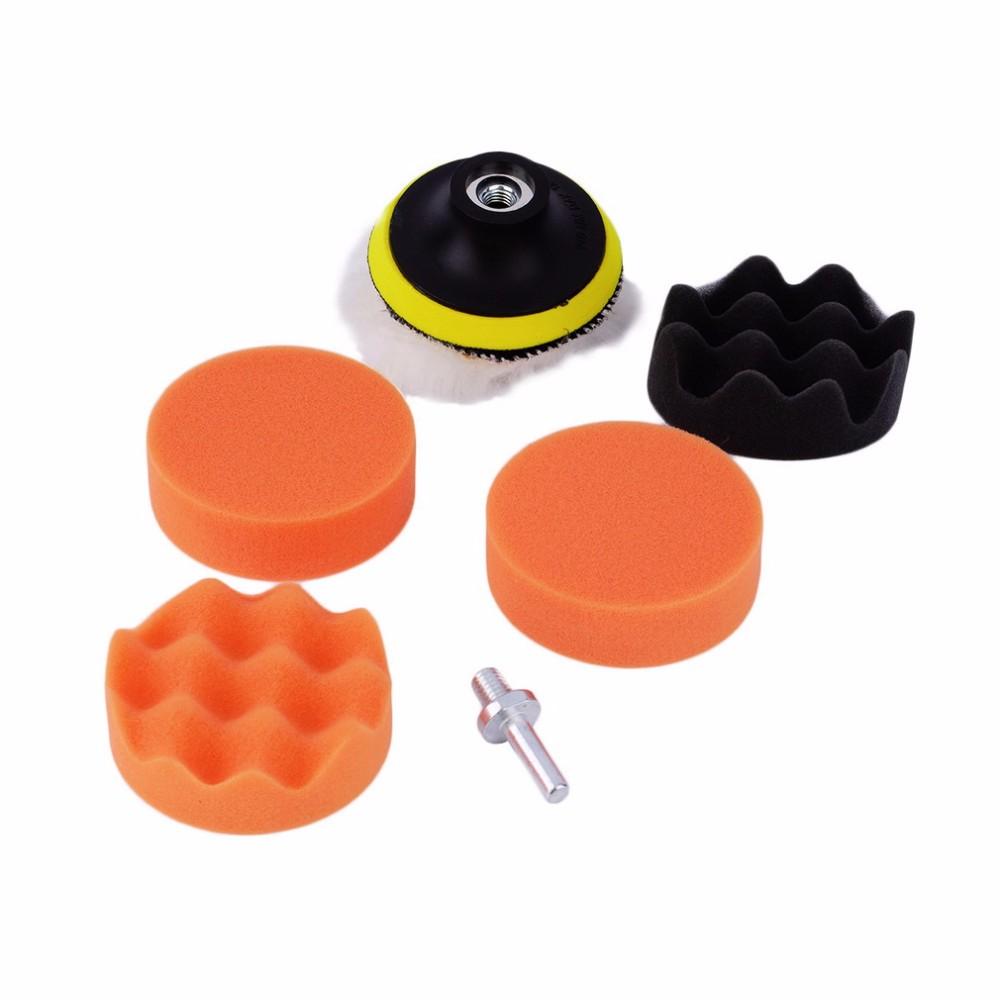 Free Shipping 7pcs/set 5 inch*125mm Buffing Pad Auto car wash Car Polishing sponge Wheel Kit With M10 Drill Adapter Buffer(China (Mainland))