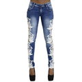 Low Waist Hollow Out Spliced Lace Jeans for Women Stretch Skinny Slim Pencil Pants Full Length