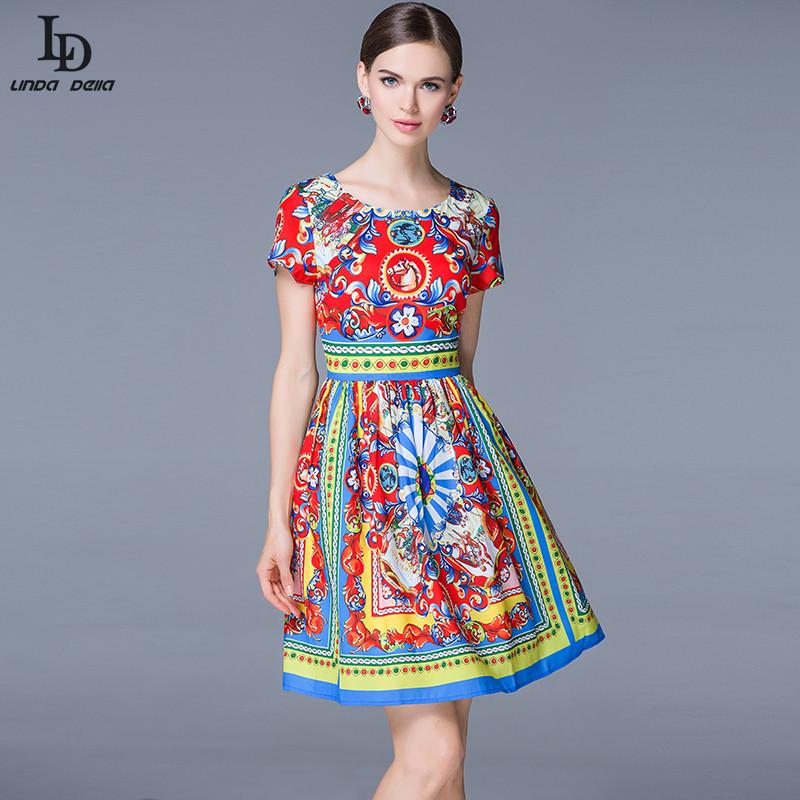 New 2015 Ball Gown Dress Spring Summer Fashion Women Designer Runway Casual Print Mini Pleated Dress Vestido High QualityОдежда и ак�е��уары<br><br><br>Aliexpress