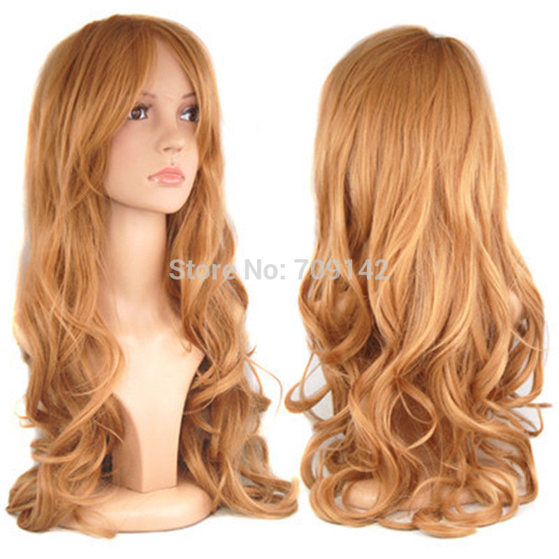 Blonde Ladies Long Wavy Curly Fancy Dress Hair Full Wig Synthetic fibre queen brazilian made hair wigs(China (Mainland))