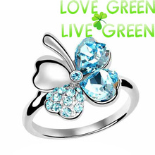 New Arrival hotselling factory Wholesale 18KGP Austrian Crystalrhinestones clover 4 Leaf leaves Heart Finger Rings jewelry 9554