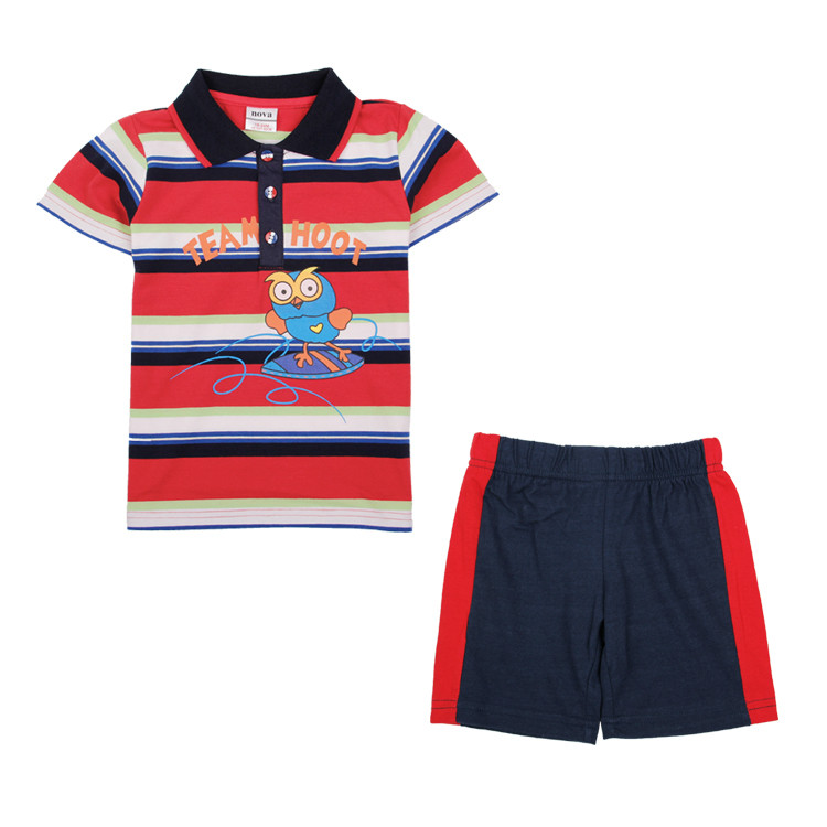 Nova kids clothes 2015 cartoon new baby children's casual clothing set boys striped suits short sleeve girl