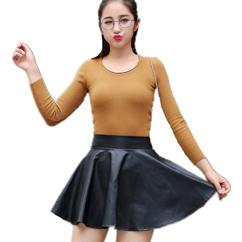 2017 New Fashion Women Faux Leather Skirt High Waist Skater Flare Mini Skirt Above Knee Solid Color Flared Pleated Short SUN127(China (Mainland))