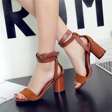 Мода 2016 лето peep toe сандалии сексуальные женские лодыжки ремень Римские обувь женская натуральная кожа женщины сандалии на высоких каблуках