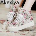 Akexiya Women Fashion Canvas Shoes Women Platform Canvas Floral print Ankle Wedges Shoes