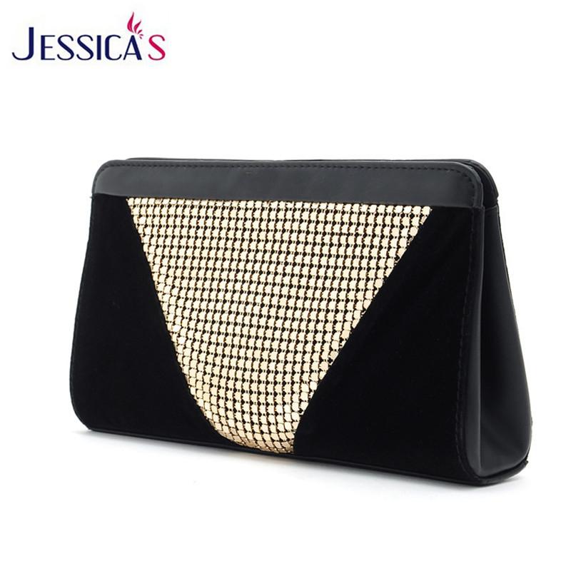 New Design Women Evening Clutch Bags High Quality Black Velvet Glitter Sequins Elegant Clutch Female Party