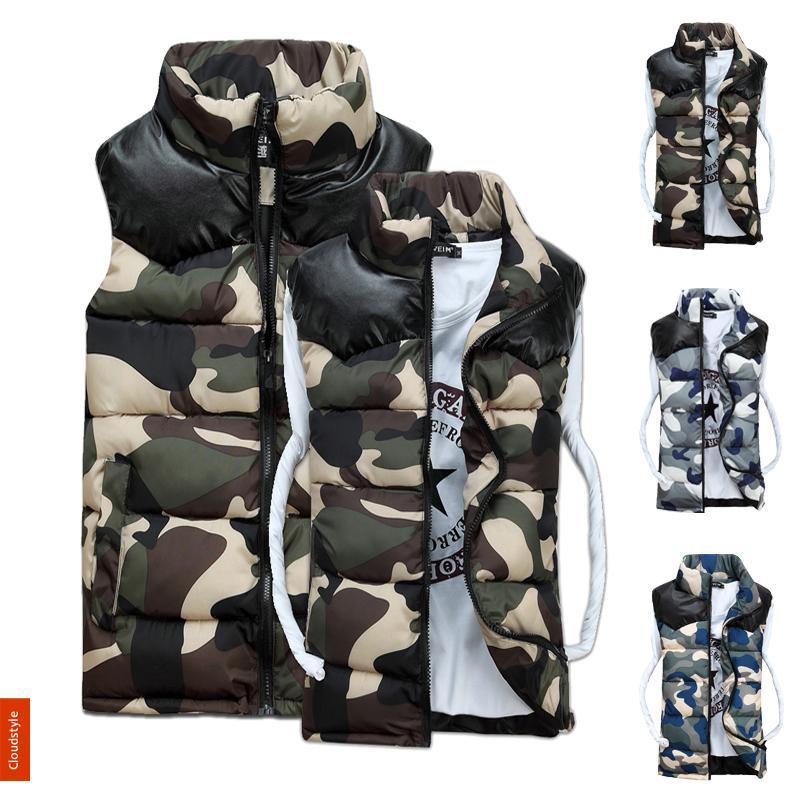 New Men s Winter Vest 2014 Autumn And Winter Cotton Vest Camouflage Mens Vest Waistcoat Lover