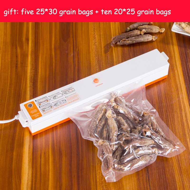 Fast Free Shipping 220V Automatic Electric Food Vacuum Sealer Portable Household Vacuum Packing Machine With Free Gift 15 bags(China (Mainland))