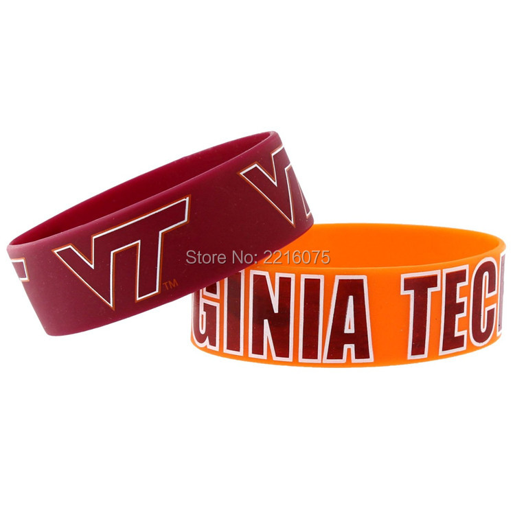 300pcs One inch NCAA Virginia Tech Hokie wristband silicone bracelets free shipping by DHL express(China (Mainland))