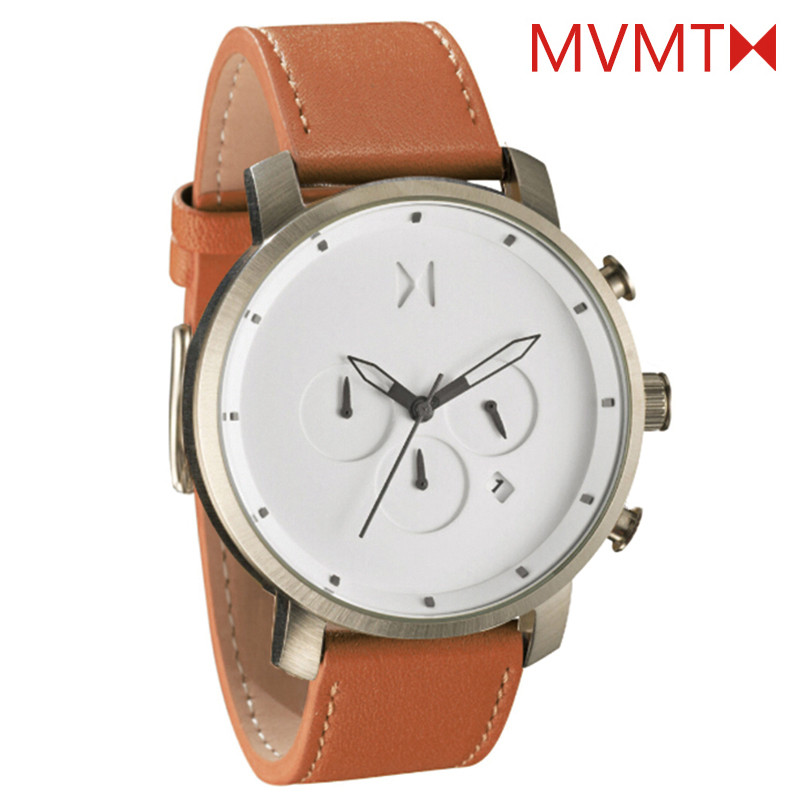 2016 Hot Brand MVMT Watch Men High Quality Leather Calendar Quartz Six-pin Clock Male Sport Wristwatch MVMT Relogio Masculino