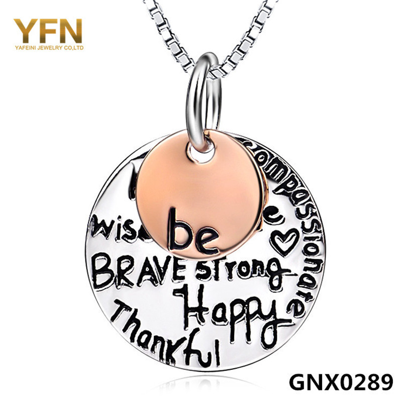GNX0289 Be What You Wanna Be Two Tone Necklace Genuine 925 Sterling Silver Pendant Necklace Fashion Jewelry For Women(China (Mainland))