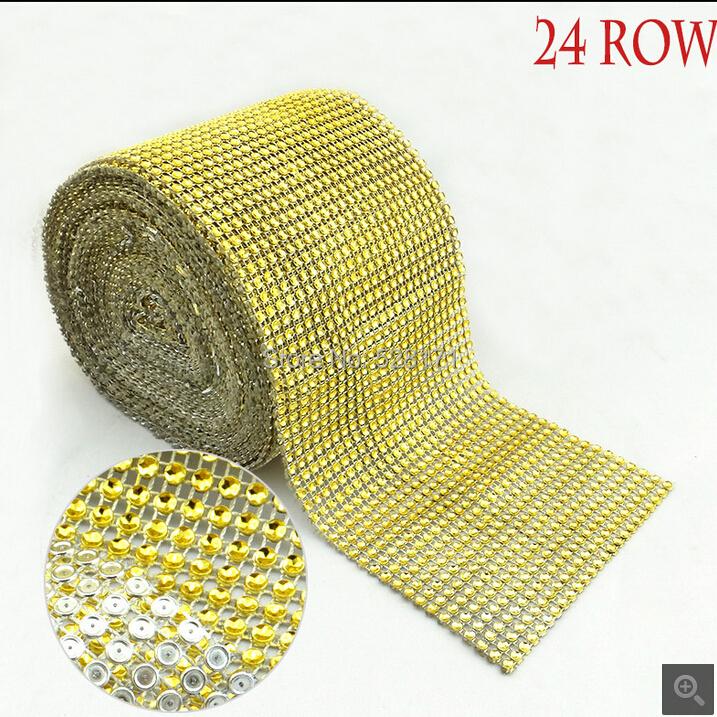 24 Rows 10 Yard Gold Trims Sew Diamond Mesh Fabric Plastic Crystal NO - Rhinestone Chain Trimming Wedding Decoration Party Decor(China (Mainland))