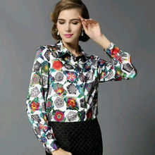 Real SILK blouse Women Blouse long sleeve work Floral Print Satin Blusas femininas Office lady STRETCH Plus size 2016 NEW (China (Mainland))
