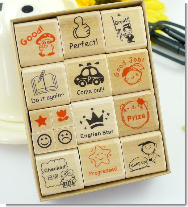 School Teacher Reviews Stationery Supplies Wooden Stamp Seal Cartoon for Kindergarten Nursery(China (Mainland))