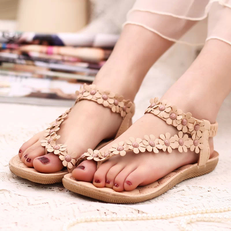 Free shipping !!!2015 Bohemia summer sandal shoes pinch the new clip toe flowers edition flat flat shoes<br><br>Aliexpress