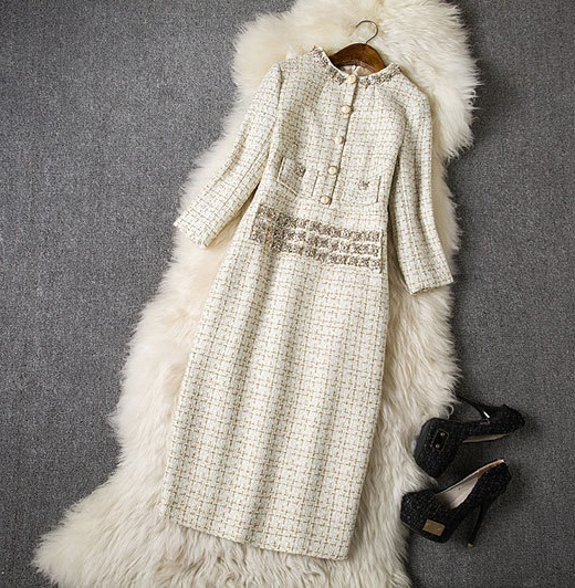 Chic 9 High Women Dresses Gold Jacquard Plaid Woolen Tweed Pencil Dress OL Work Elegant Ladies Party Dress Female