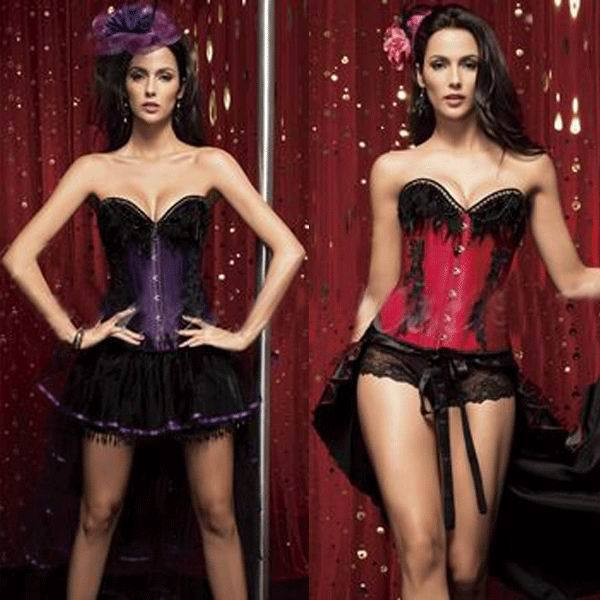 Free shipping 3F3059 Red overbust boned corset lace up back corsets(China (Mainland))