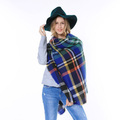 2015 Desigual British Style Knitted Colorful Cape Shawl Scarves Pashmina Oversize Poncho Winter Women Tartan Plaid