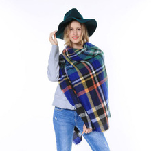 2015 Desigual British Style Knitted Colorful Cape Shawl Scarves Pashmina Oversize Poncho Winter Women Tartan Plaid Blanket Scarf