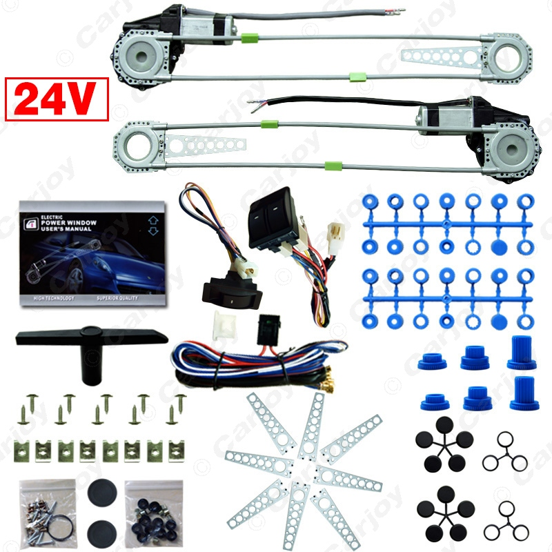 Car/Truck Front 2-Doors Electric Power Window Kits with 3pcs/Set Switches & Harness DC24V #CA2979(China (Mainland))