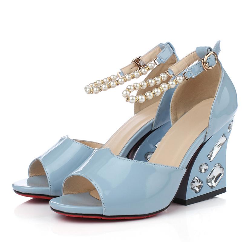 Free shipping Senior patent leather sandals women beautiful luxury pearl rhinestone high-heeled sandals NGMZR-0167<br><br>Aliexpress