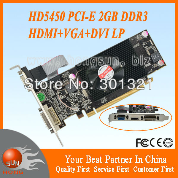 ATI Radeon HD5450 2GB DDR3 VGA/DVI/HDMI Low Profile PCI-Express X16 Video Card(China (Mainland))