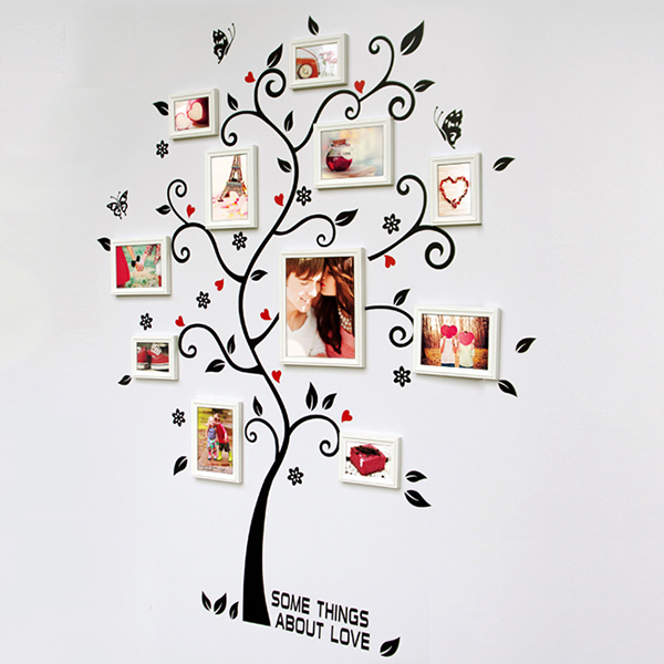 Chic Black Family Photo Frame Tree Butterfly Flower Heart Mural Wall Sticker Home Decor Room Decals(China (Mainland))