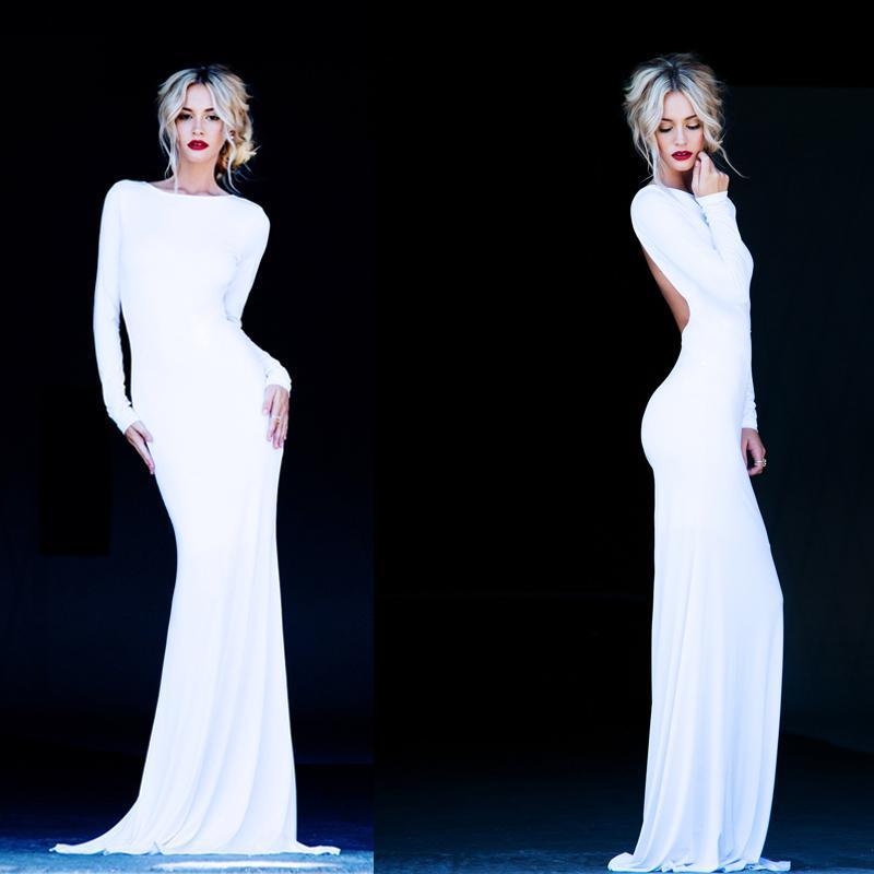 2015 White Long Sleeve Backless Evening Dresses Vintage ...