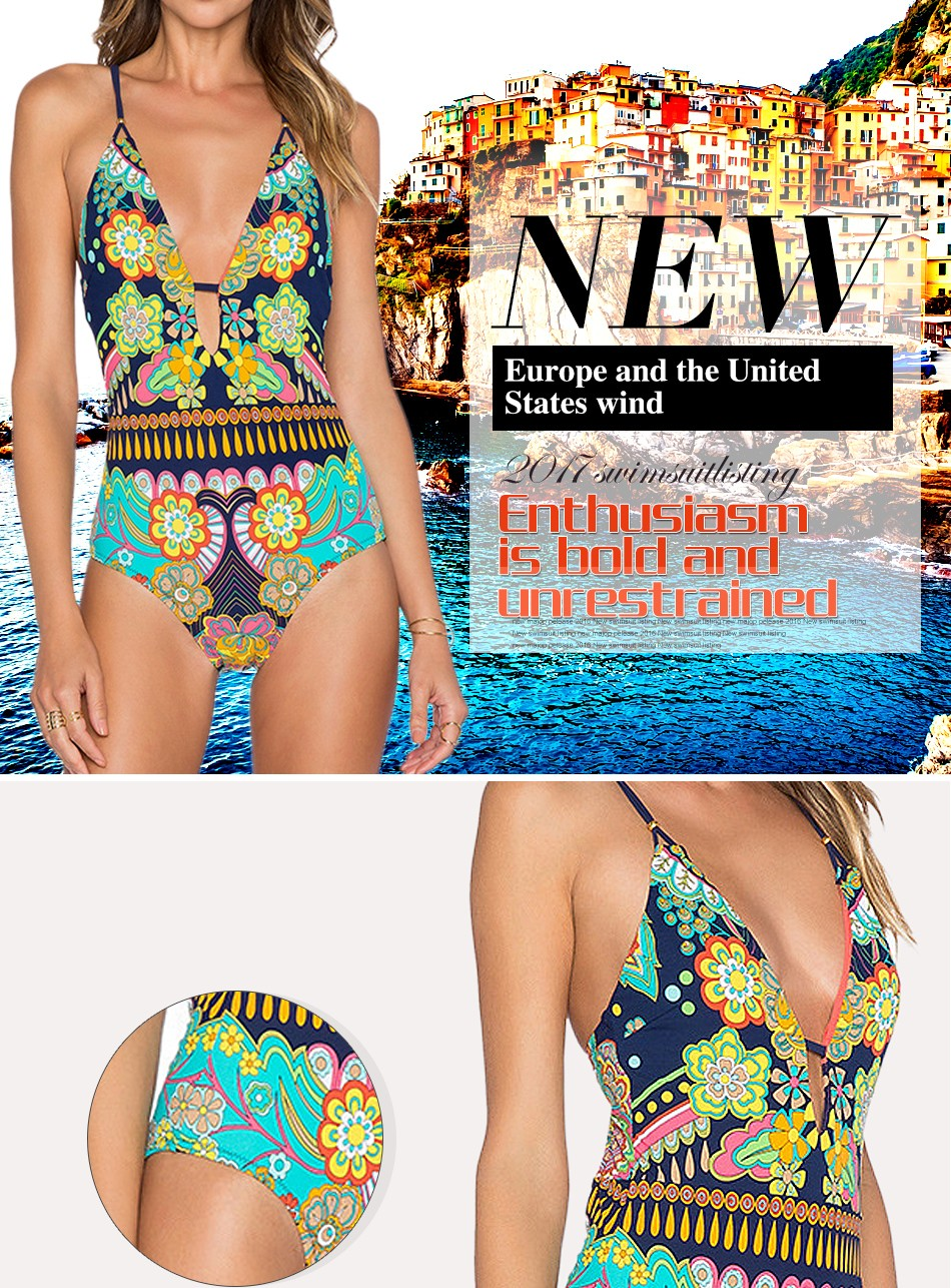 BRAITTN Free shipping In 2017 new product release swimsuit at the European and American  printing beach super sexy bikin