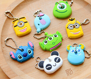 Kawaii Cartoon Animal Silicone Key Caps Covers Keys Keychain Case Shell Novelty Item KCS(China (Mainland))