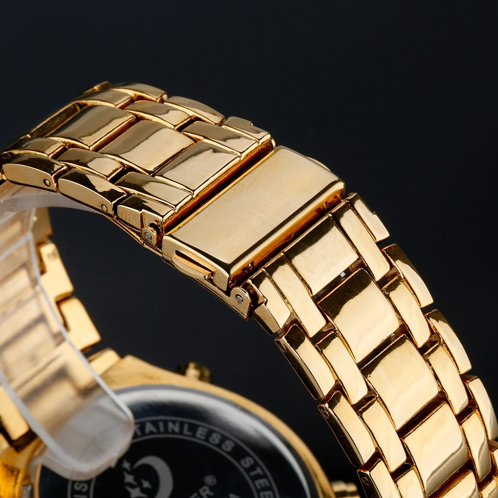 2015 Luxury Brand Quamer Fashion Men s Watch Stainless Steel LED Display Mens Business Casual Waterproof