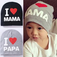 1-3 Years Old Fashion Baby Cap Knitted Warm Cotton Toddler Beanie Cute Kids Girl Boy I LOVE PAPA MAMA Print Kid Hats