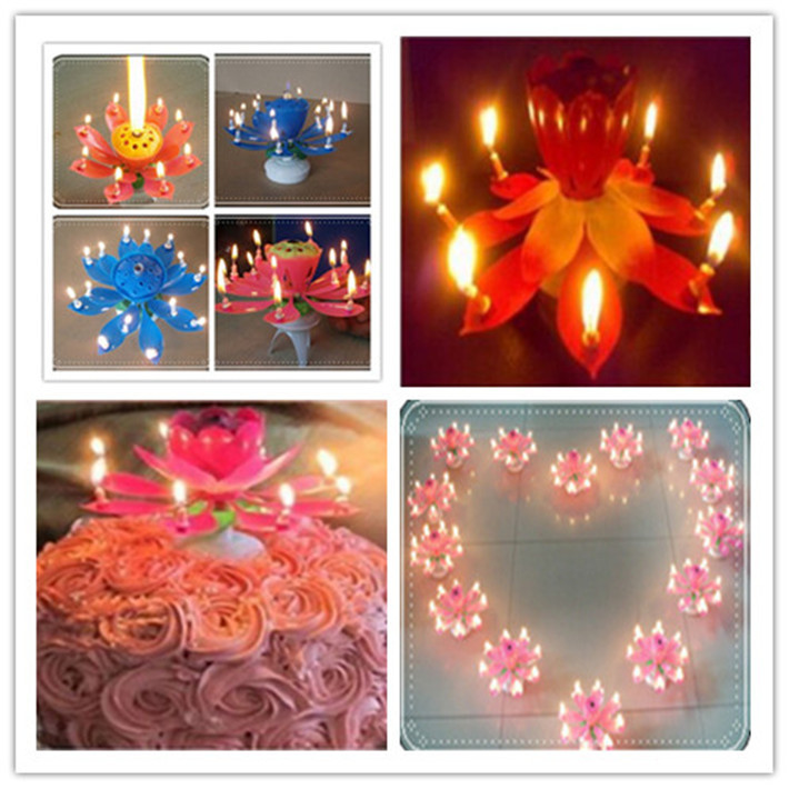 Beautiful Romantic Musical Lotus Birthday Candle Flower Rotating Sparkler Topper Decorative Candle For Cake 1PCS Free Shipping(China (Mainland))