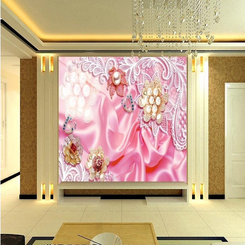 Free Shipping Copyright picture 3d luxury European silk pearl flower TV backdrop living room lobby bedroom wallpaper mural(China (Mainland))