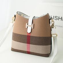FREE SHIPPING 2015 New Brand Woman Hasp Grid Single Shoulder Bags Lady Plaid Canvas Messenger Bag(China (Mainland))