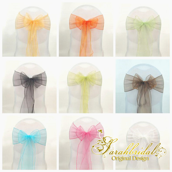 Colorful organza wedding chair sash diy table runner swag for Decoration table mariage
