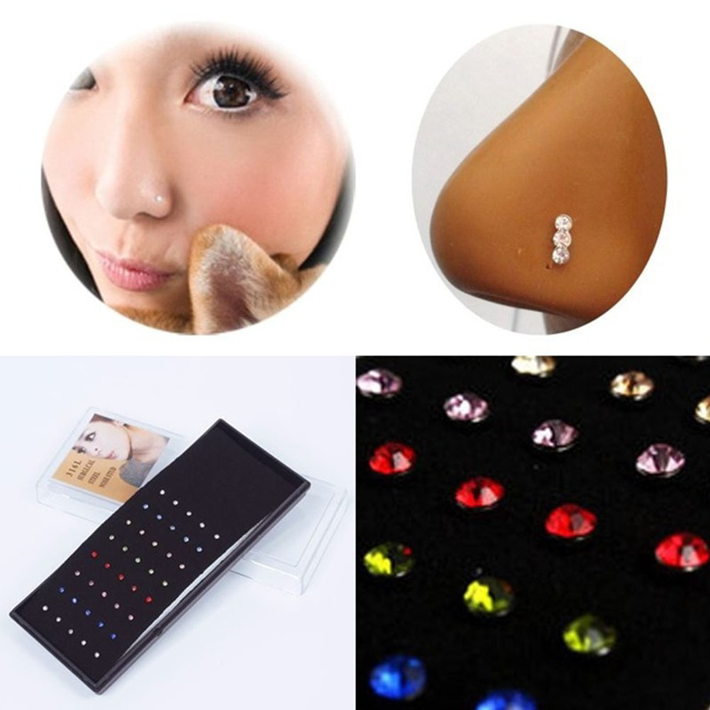 1set 40PC Wholesale Rhinestone nose ring Of Women Lady Piercing Nose Stud Pin Silver Elegant Body Piercing Jewelry Free Shipping(China (Mainland))