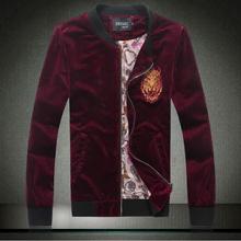 New 2015 autumn fashion golden tiger print pleuche jacket men plus size 5xl slim fit jacket chaqueta hombre men's clothing/JK24(China (Mainland))
