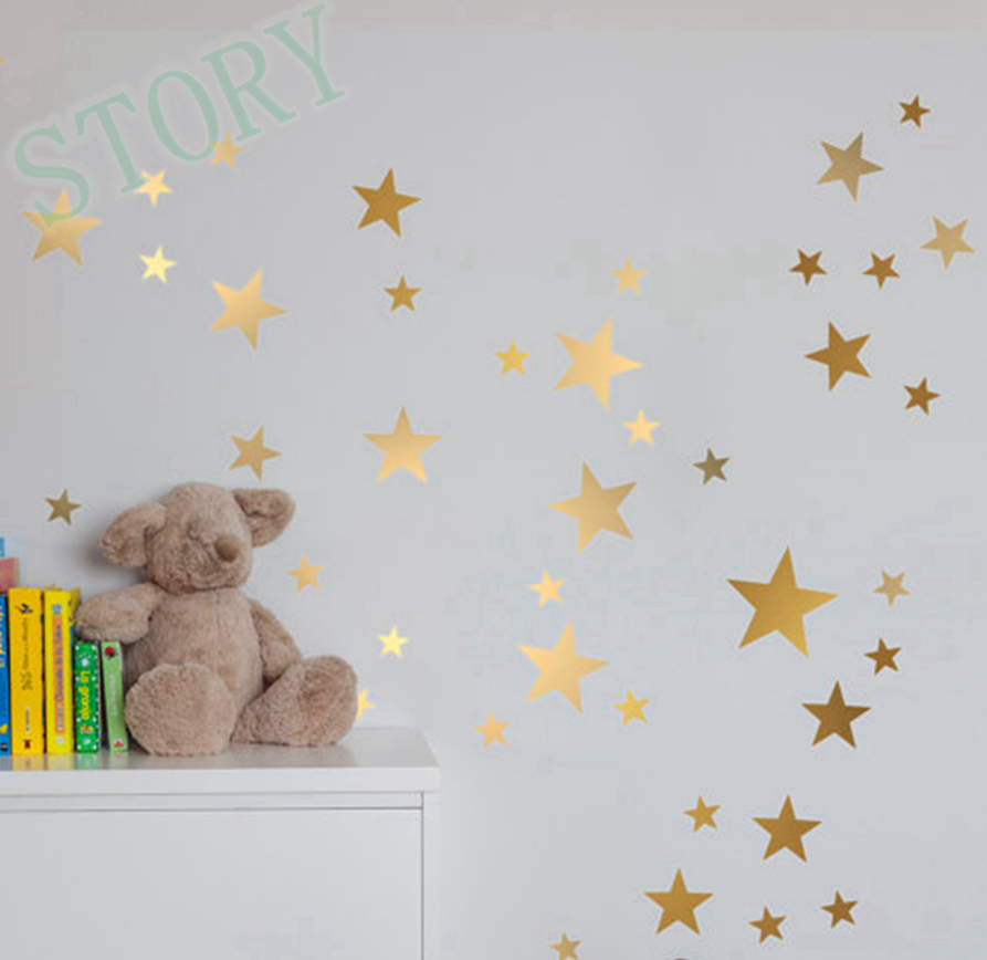 Gold stars wall decal vinyl stickers golden star kids rooms wall art nursery decor stickers in - Stars for walls decorating ...